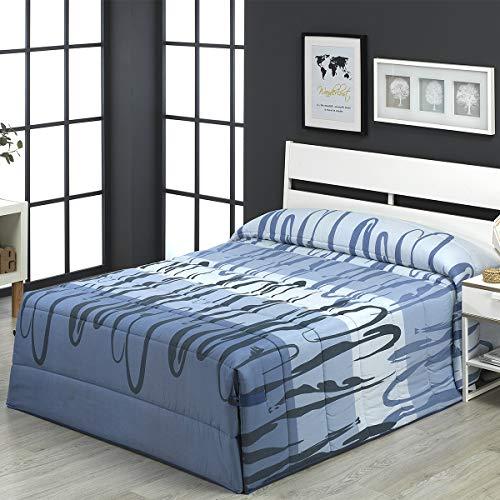 Camatex - Conforter Carolina Cama 105 - Color Azul (edredón de Acolchado Grueso época de frío con Cintas y Botones como Sistema de Ajuste)