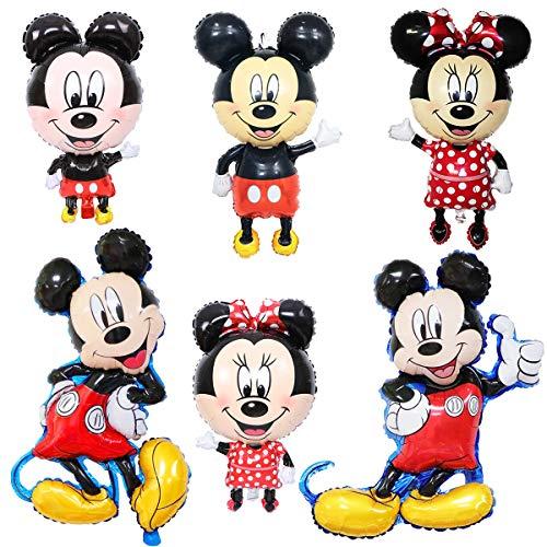 FANDE Decorazioni di Compleanno di Topolino per Ragazzi, 6PCS Foil Balloon Palloncino di Topolino Birthday Foil Balloon per Feste Tema di Compleanno Baby Shower Decorazioni