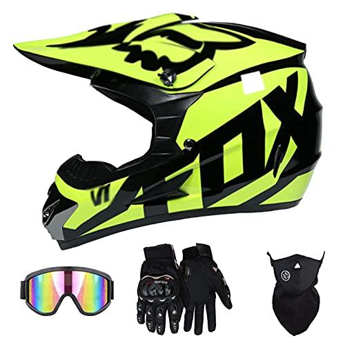Casco De Motocross, Respiraderos De Moda De Casco De Cubierta Completa, Forro Interior Extraíble Casco De Carreras con Gafas + Guantes + Protector Facial (Negro + Amarillo)