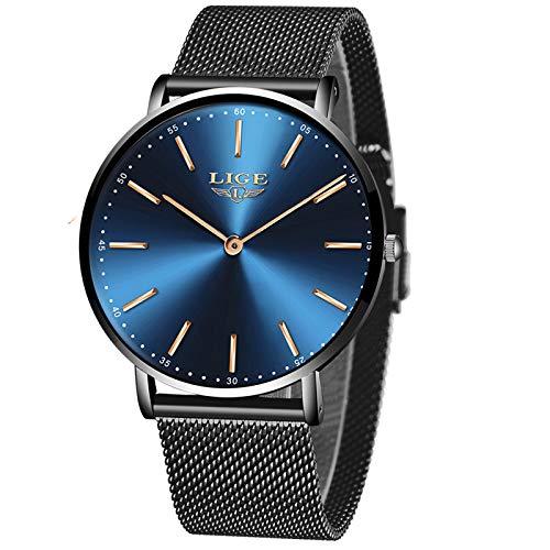 LIGE Unisex Uhren Damen Herren Wasserdicht Mode Einfach Minimalistische Analog Quarz Herrenuhren Männer Klassisch Beiläufig Schwarz Blau Edelstahl Mesh Armbanduhren