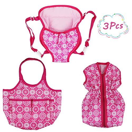 """DC-BEAUTIFUL 3 Pack Baby Doll Accessories Set with Handbag and Front/Back Carrier Backpack and Sleeping Bag, Fits 14 to 18""""Dolls"""