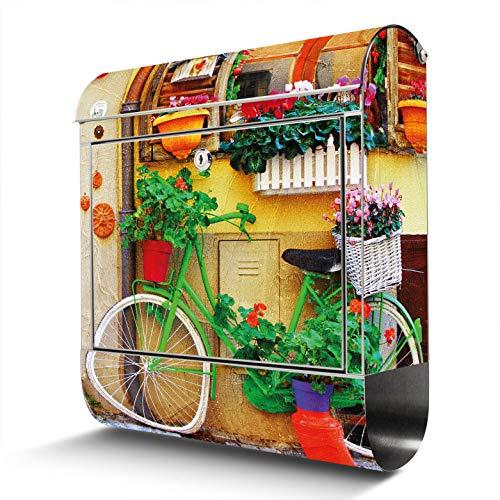 BANJADO Edelstahl Briefkasten mit Zeitungsfach | Design Motivbriefkasten | Briefkasten 38x43x12cm groß | Postkasten mit Montagematerial | 2 Schlüssel Motiv Grünes Fahrrad