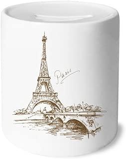 DIYthinker The Eiffel Tower Paris France Money Box Saving Banks Ceramic Coin Case Kids Adults