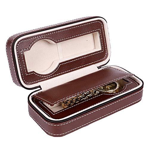 Kalaokei Caja de almacenamiento de 2/4/8 rejillas de cuero sintético portátil con cremallera para reloj de viaje, caja organizadora portátil de viaje, embalaje café, 4 rejillas