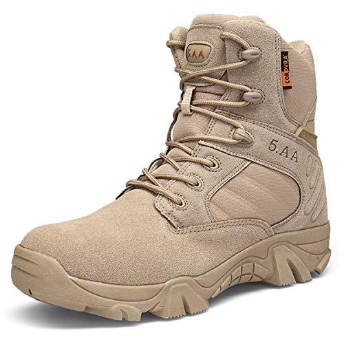 Botas de Senderismo Antideslizantes y Resistentes al Desgaste para Hombres Botas de Militares tácticas Cuero de Gamuza Zapatillas Altas de Trekking para Exteriores