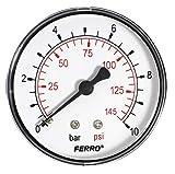 Industrial 63 mm hidráulico manómetro de presión de 10 bares retaguardia 0,64 cm