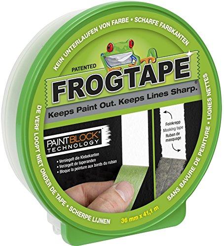 FrogTape Abklebeband – Malerkreppband mit Paint-Block Technologie – Kreppband für saubere Kanten beim Streichen & Lackieren – 36mm x 41m