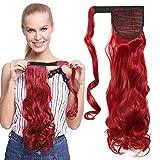 TESS Ponytail Extensions Pferdeschwanz Haarteil Clip in wie Echthaar Haarverlängerung günstig Zopf Extensions Haarteile Gewellt 17'(43cm)-90g Rot