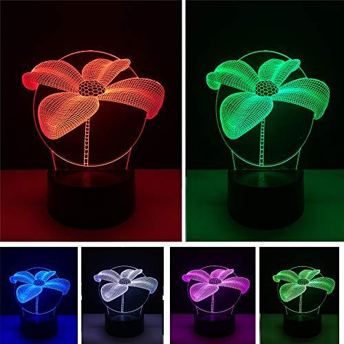 HNXDP Lotus Blume 3D Nachtlicht Tisch Schreibtisch 7 Farbwechsel Illusion Lampe Kind Hause Schlafzimmer DekorJahr Party