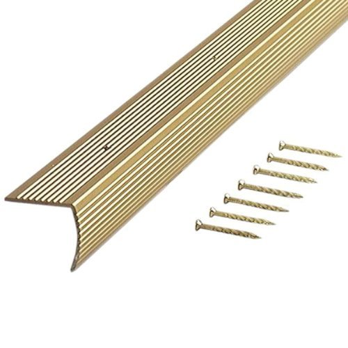 M-D Building Products 79020 Fluted 1-1/8-Inch by 1-1/8-Inch by 36-Inch Stair Edging, Satin Brass by M-D Building Products