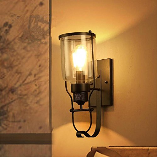 Atmko®Applique Murale Industrial Vintage Wall Light Noir Fer forgé Lampe murale en verre pour salle de séjour Chambre à coucher Couloir Retro Loft Éclairage d'éclairage mural simple à montage mural