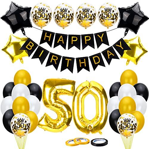 50 Födelsedagsdekoration svart guld, 50-årsdagen dekoration, 50-års-födelsedagsdekoration, 50-årsdag fest dekoration med Happy Birthday Banner konfetti ballonger hjärta folieballonger för flickor pojkar party
