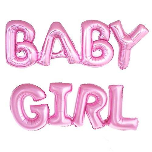 ballonfritz® Luftballon Baby Girl Schriftzug in Pink - XXL Folienballons als Geschenk zur Geburt eines Mädchen oder Baby-Shower-Party Deko