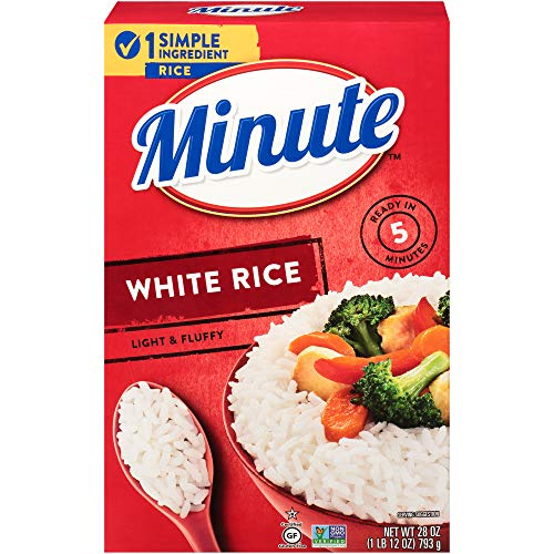 Minute Instant White Rice, Gluten Free, Non-GMO, No Preservatives, 28-Ounce Box