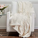 The Connecticut Home Company Soft FluffyFaux Fur Bed Throw Blanket, Luxury Sherpa Reversible Blankets, Comfy Plush Washable Accent Throws for Sofa, Beds, Couch, Fuzzy Home Bedroom Decor,65x50, Ivory
