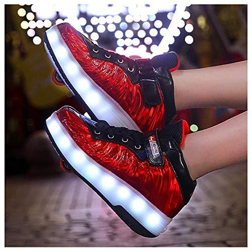 Rollschuhe, USB-Ladegerät, Einzel-/Doppelrad, blinkend, Unisex, für Jungen und Mädchen, Studenten, Freizeitschuhe mit LED-Streifen, Outdoor-Sneakers (29–40), - F - Größe: 36 EU