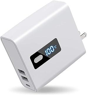 【2in1】 USB急速充電器 モバイルバッテリー 6700mAh 大容量 ACアダプター 折りたたみ式プラグ搭載 2USB出力ポート 最大5V/2.4A 軽量 PSE認証済 多重保護システム iPhone/iPad/Android各種対応 (白)