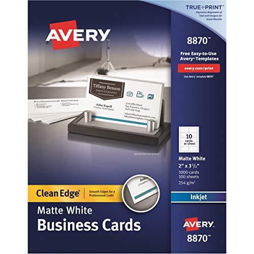 Avery Tarjetas de visita imprimibles, impresoras de inyección de tinta, Blanco, 1000 Cards