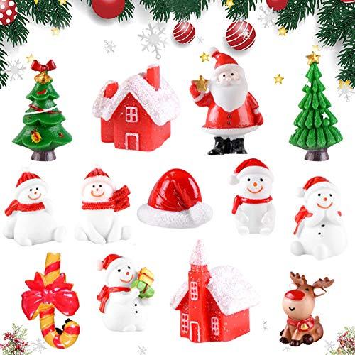 Weihnachten deko Figuren,Mini Weihnachten Deko,Winter Schnee Ornament,Weihnachten Mini Ornamente Set,DIY Zubehör Kunstharz Miniatur,Mini weihnachtsdeko Set,Mini Ornamente Set