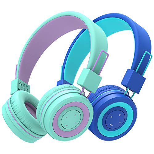[2 Pack] iClever BTH02 Kids Wireless Headphones - Online Schooling Headphones for Kids with MIC, Volume Control Adjustable Headband - Children Headsets for School iPad Tablet Airplane PC, Green/Blue