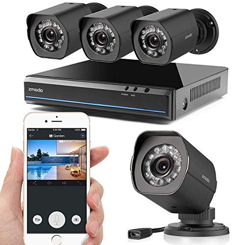 Zmodo ZS-1004-B 8CH HDMI NVR Simplified PoE Surveillance Video Security Camera System, Black, 8 Cam Kit