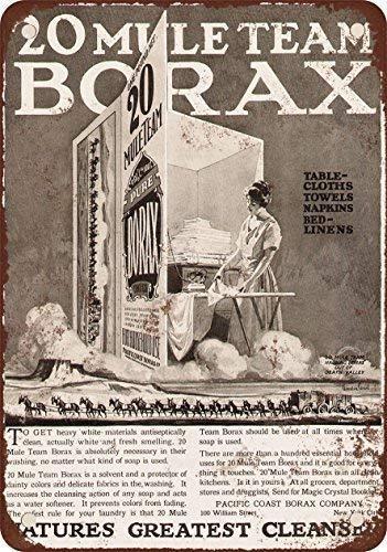 Stedman Apparel Blechschild Iron Painting 20 x 30 cm 1923 20 Mule Team Borax Waschmittel Vintage Look Reproduktion Metall Blechschild