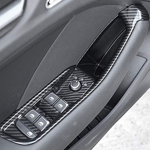 DHFBS Autodeur Armsteun Opbergdoos Decoratieve Cover, Voor Audi A3 8V 2014-2019 Koolstofvezel Kleur Vensterglas Schakelaar Frame Trim Decals