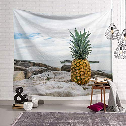 Ananas doré Tapisserie Tenture murale Tissu Décor Couverture Yoga Tapis Couvertures Fruits Tapisserie Serviette De Plage Été 150 * 200 Cm