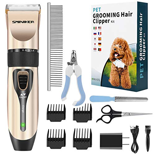 Sminiker Professional Dog Clippers Low Noise Dog Hair Trimmer with Comb Guides Rechargeable Cordless Pet Clippers for Dogs, Cats,Horse and Other Animals Pet Grooming Kit