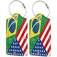 Tvuirw American Usa Brazil Flag レザーラゲッジタグラゲッジラゲッジタグユニセックスプライバシー保護カバーラゲッジロゴ付き