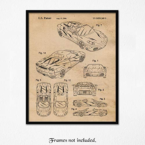 Vintage Ferrari F430 Patent Poster Prints, Set of 1 (One 11x14) Unframed Photo, Wall Art Decor Gifts Under 15 for Home, Office, Garage, Man Cave, College Student, Teacher, Italy Cars & Coffee Fan