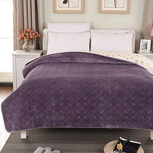JWCN Flannel Bedspread Throws Cotton Quilted Coverlets Single Double Bed Multifunction Blanket Primrose Embroidered Quilt Bed Throw Plush Keep Warm Double-Queen:180x200cm_Purple1 Uptodate
