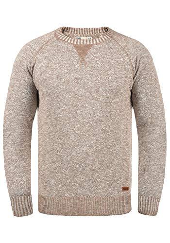 !Solid Thian Herren Strickpullover Feinstrick Pullover Mit Rundhals Und Melierung Aus 100% Baumwolle, Größe:M, Farbe:Dune (5409)