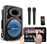 Máquina de karaoke Bluetooth portátil y altavoz de 300 W con efectos de luz LED discoteca, 2...