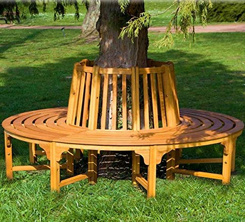 Directachat56 Banc de Jardin en Bois Exotique, Tour d'arbre, 190 cm