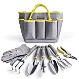 Jardineer Garden Tools Set, 8PCS Gardening Tools Kit with Garden Hand Tools, Gardening Gloves and Garden Tools Bag, Perfect Garden Tools Gifts for Men and Woman