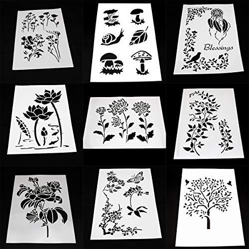 BLUGUL 9 Stück A4 Schablonen, Zeichenschablonen, für Wand Boden Fliesen Holz Stoff Möbel, Baum Blume Rebe Lotus Pilz
