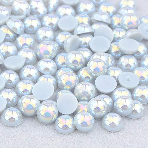 2 4 6 8 10 12 14mm Demi-Ronde Imitation Perle Noir AB Strass Perle Colle Sur Nail Art Décoration Dos Plat Perle Autocollant, Gris AB, 12mm 50 Pcs