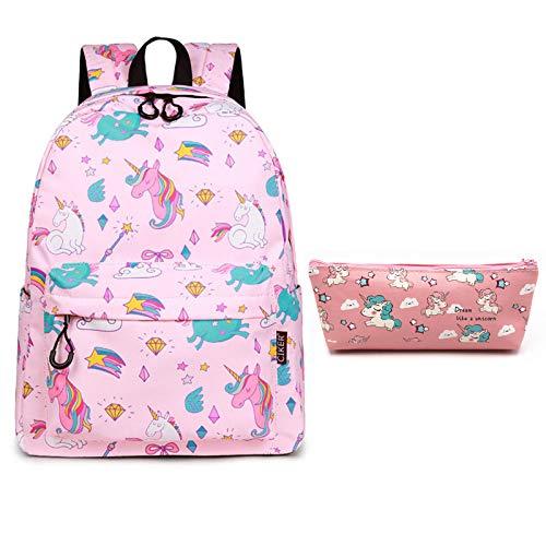 SEDEX - Cartella da ragazza, motivo: unicorno, in tela, impermeabile, leggera, per sport, scuola, viaggio, zaino per studenti, ragazze, ragazzi, scuola, colore: rosa