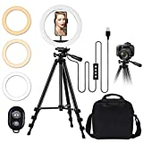 TBJSM 10' Selfie Ring Light Tripod Stand Phone Holder for Live Stream Makeup Desktop Led Camera Ring Light for YouTube Video TikTok Compatible with iPhone Android