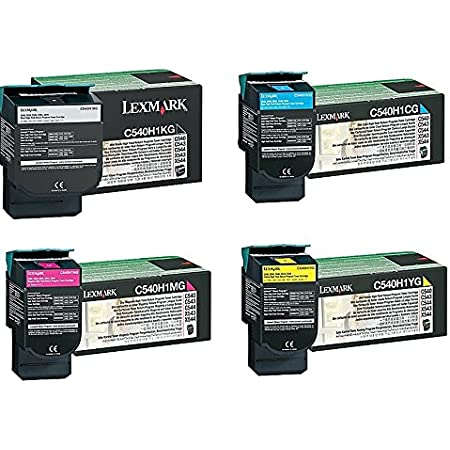 Lexmark C540H1KG C540H1CG C540H1MG C540H1YG C540 C543 C544 C546 X543 X544 X546 X548 Toner Cartridge Set (Black Cyan Magenta Yellow, 4-Pack) in Retail Packaging