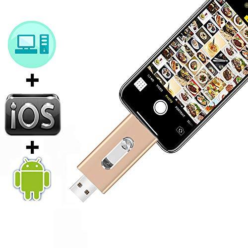 Fotográfico se quedan para el iPhone USB Flash Drive Photostick móvil iOS Flash Drive Memory Stick de 3.0 Expansión Memory Stick Tablet PC MacBook de almacenamiento externo de 128 GB USB Android,128GB