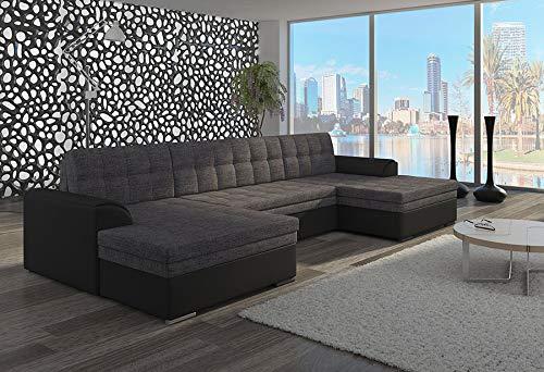 Kasalinea - Sofá de Esquina panorámico Convertible en Negro y Gris o Negro y Beige York 5