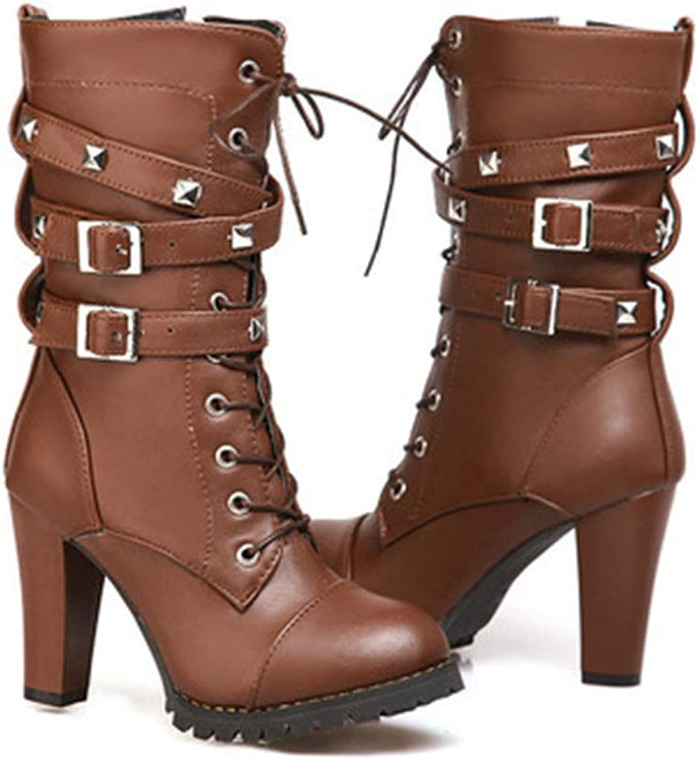 Fancyww Women Motorcycle High Heels Punk Buckle Rivet Strap Combat Military Mid Calf Boots
