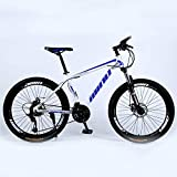 Novokart-Mountain Bike Unisex, Bicicletas montaña 21/24/27 Pulgadas, MTB para Hombre, Mujer, con Asiento Ajustable, Frenos de Doble Disco,Blanco Azul, 21-Speed Shift,Rueda de radios