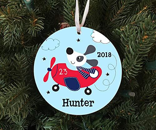 DKISEE Gepersonaliseerde Leuke Hond In Vliegtuig Ornament Keepsake - Op maat gemaakt om te bestellen - 2019 Unieke Nieuwigheid Boom Decoratie 3.1 inch