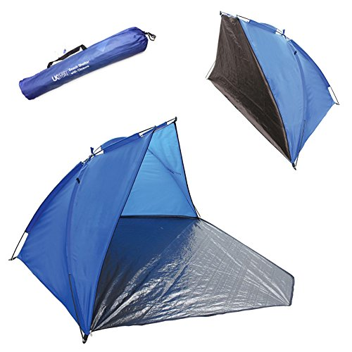 UKHobbyStore Quality Blue Beach Tent And Festival Shelter With Closing Door Adult And Childrens SPF40 Sun Protection Screen And WindBreak Fishing Camping And Garden Play Area Shade