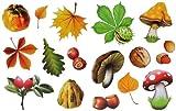 Unbekannt 16 Stück: Fensterbilder Herbst - Blätter Pilze Kastanien und