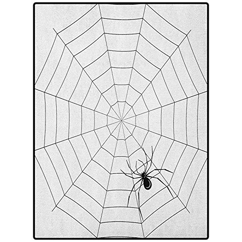 Spider Web Floor Carpet Indoor Modern Area Rugs Toxic Poisonous Insect Thread Crawly Malicious Bug Halloween Character Design Black White 46' x 30'
