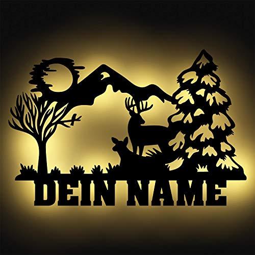"""Schlummerlicht24 Led 3d Nachtlicht\""""Wald & Berge\"""" mit Name, ideales Geschenk als Wohnzimmer Schlafzimmer Deko-Lampe"""